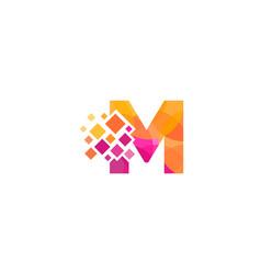M letter pixel logo icon design vector