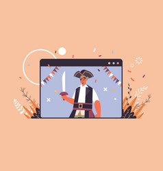 man in pirate costume happy halloween party vector image