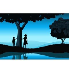 Nature Background with Silhouettes vector image