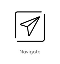 Outline navigate icon isolated black simple line vector