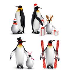 penguin winter activities realistic vector image