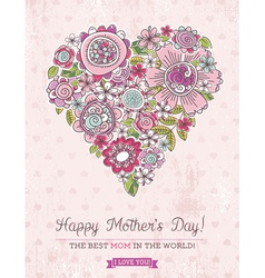Pink Mothers Day card with big heart of spring fl vector image
