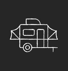 pop up camper chalk white icon on black background vector image