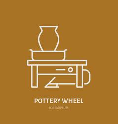 Pottery workshop ceramics classes line icon clay vector