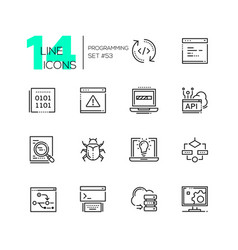 Programming - modern thin line design icons set vector