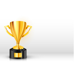 realistic golden trophy with text place award cup vector image