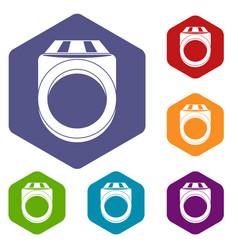 Ring icons set hexagon vector