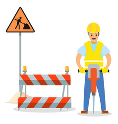 road repair male worker vector image