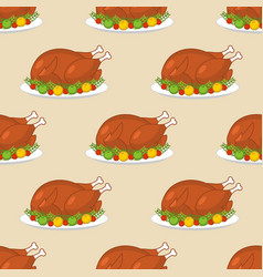 roast turkey for thanksgiving seamless pattern vector image