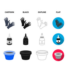 rubber gloves ink and other equipment tattoo set vector image