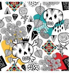 Seamless pattern with doodle skulls and romantic vector