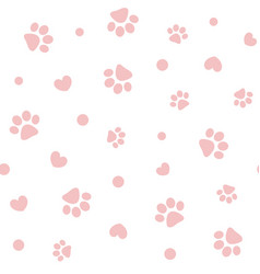 seamless pattern with pink pawprints and hearts vector image