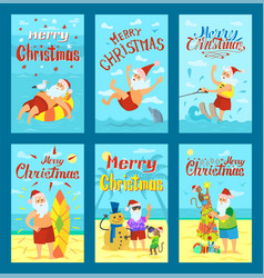 seascape merry christmas postcard template vector image