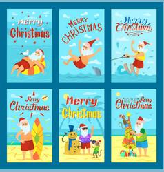 Seascape merry christmas postcard template vector