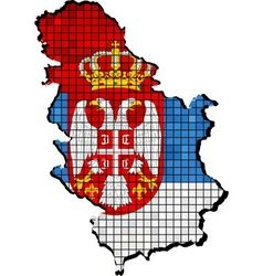 Serbia map with flag inside vector