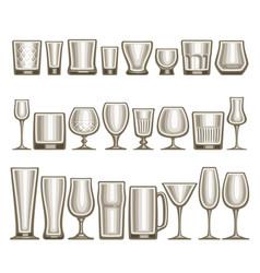 set different glassware vector image