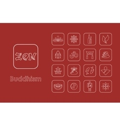 Set of buddhism simple icons vector image