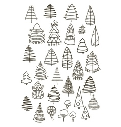 Set of Christmas black trees isolated on white vector