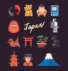 Set of flat japan icon vector