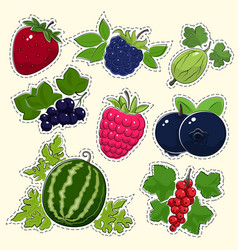 Set of fruit berry stickers vector