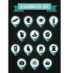 Set of halloween mapping pin icon vector
