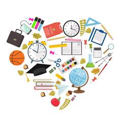 set of heart shaped school supplies vector image