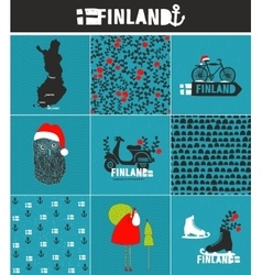 Set of labels and patterns for Finland vector image