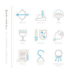 set of medieval icons and concepts in mono thin vector image