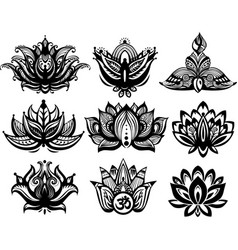Set of ornamental lotus flowers vector