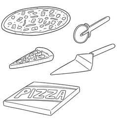 set of pizza vector image