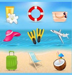 Set realistic travel and tourism accessories vector