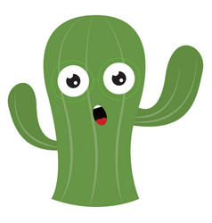 Shocked cactus on white background vector