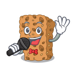 Singing granola bar mascot cartoon vector