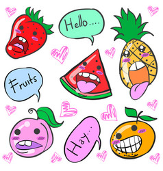 Smile fruit character cartoon doodles vector