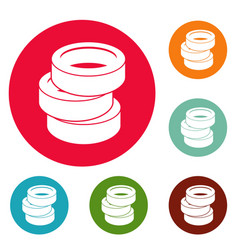 Stack of tire icons circle set vector