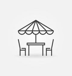 Street cafe icon table and chairs line vector