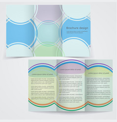 Tri-fold business brochure template blue flyer vector