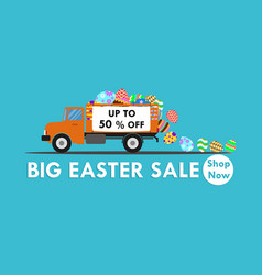 truck carry colorful easter egg vector image