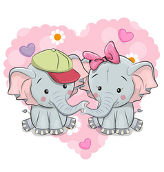 two cute cartoon elephants vector image