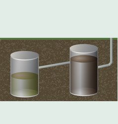 Underground septic tank sewage system vector
