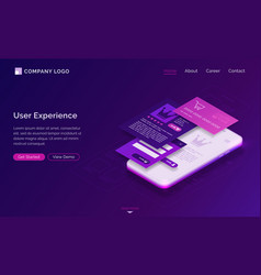 user experience ui ux isometric landing page vector image