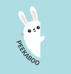 white bunny rabbit holding wall signboard cute vector image