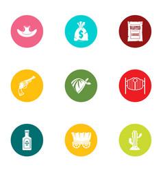 wild bank icons set flat style vector image