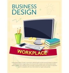 Workplace concept design poster vector image