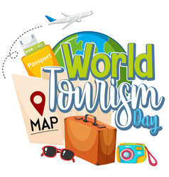 world tourism day logo with items for travelling vector image