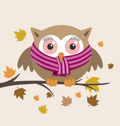 female owl with scarf on a fall day vector image vector image