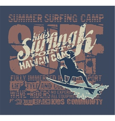 Hawaii surfing camp vector image