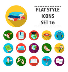 interpreter and translator set icons in flat style vector image vector image