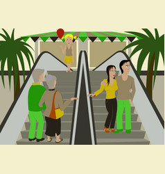 people shopping in a mall vector image