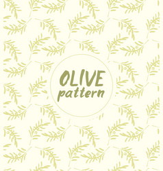 seamless pattern ink drawn olive branch vector image vector image